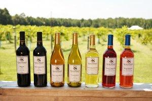 Seven Springs Farm & Winery's seven wine options.